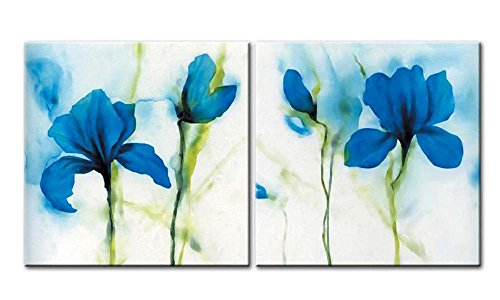 Lily Easter Grow (Canvas Print Wall Art Painting For Home Decor Still Life Of Blue Lily Blooms Flowers On Vintage Background Easter Lily Longflower Lily 2 Pieces Panel Paintings Modern Giclee Stretched And Framed Artwork The Picture For Living Room Decoration Flower Pictures Photo Prints On Canvas)