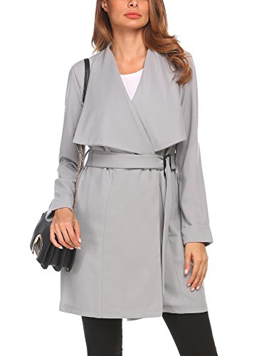 pen Front Waterfall Belted Wrap Coat Jacket Grey XXL (Belted Wrap Jacket)