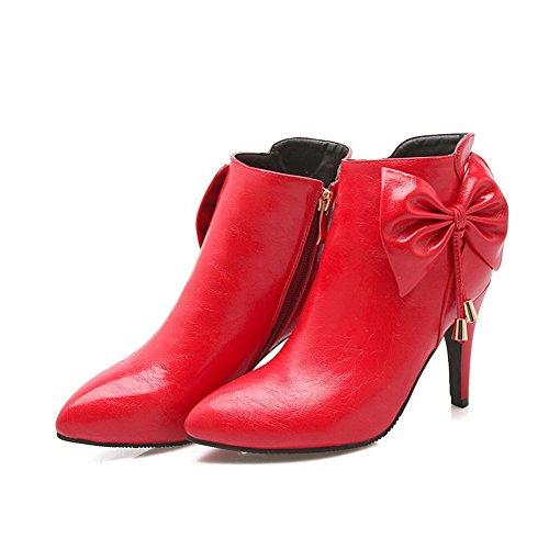 BalaMasa Girls Spun Gold Bowknot Metal Ornament Patent Leather Boots Red nakwHyT