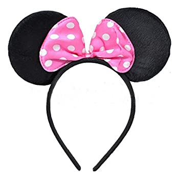 CHuangQi Mouse Ears Solid Black and RoseRed Bow Headband for Boys and Girls Birthday Party or Celebrations (Pack of 12)