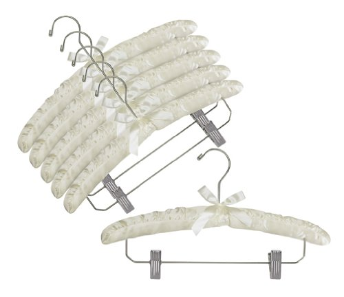 Only Hangers Ivory Satin Padded Hangers w/Chrome Hook & Clips - Pack of (6) ()