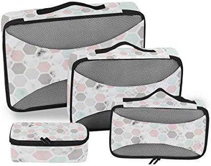 マーブルピンクブラックホワイトマーブリング荷物パッキングキューブオーガナイザートイレタリーランドリーストレージバッグポーチパックキューブ4さまざまなサイズセットトラベルキッズレディース