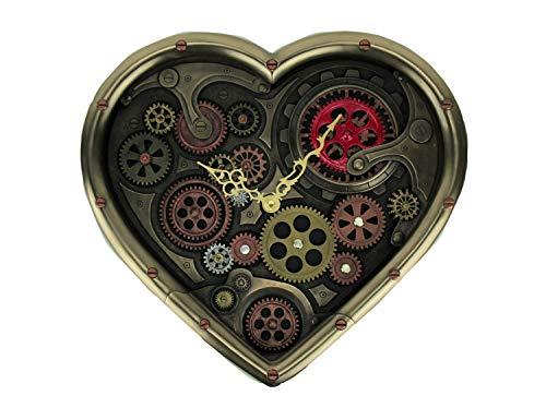 Veronese Design Metallic Brass Steampunk Moving Gears Heart Shaped Wall Clock