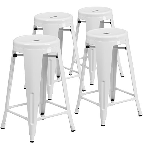 24' High Round Table (Flash Furniture 4 Pk. 24'' High Backless White Metal Indoor-Outdoor Counter Height Stool with Round Seat)