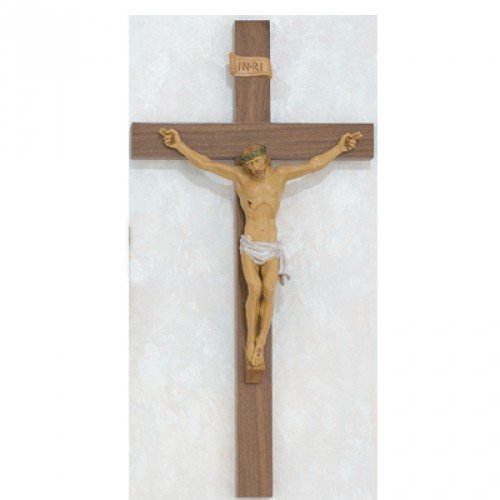 24'' Walnut with Italian Corpus Crucifix Wall Cross. Perfect for Wedding Gifts, Confirmation, New Home, Rcia. by Hail Mary Gifts (Image #1)
