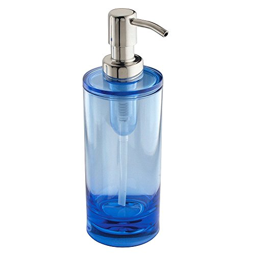 UPC 081492552215, InterDesign Eva Soap and Lotion Dispenser Pump, for Kitchen or Bathroom Countertop - Ocean Blue/Chrome