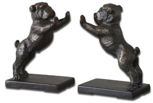 Uttermost Bulldogs Cast Iron Bookends, Set/2 with Heavily Distressed Golden Bronze Cast Iron