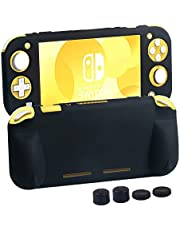 CHIN FAI para Fundas Nintendo Switch Lite, Cubierta de Funda de Agarre Suave con Asas ergonómicas cómodas para Nintendo Switch Lite 2019 [Self Stand] [4 Tapas de Palillos para Pulgar] (Negro)