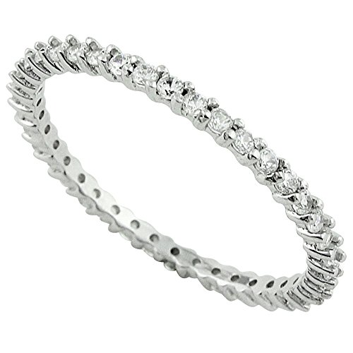 CloseoutWarehouse Cubic Zirconia Stackable Eternity Ring Sterling Silver Size 4 by CloseoutWarehouse