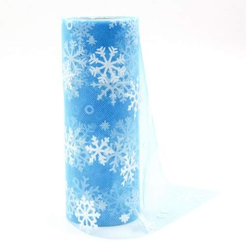 Sala-Tecco - 10yardX15cm White Snowflake Crystal Tulle Organza Sheer Gauze Element For Table Runner And Home Garden Wedding Party Decoration from Sala-Tecco