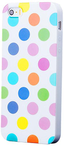 iCues | Compatible with Apple iPhone SE / 5S / 5 | Polka Dot Case White/Multi-Coloured | [Screen Protector Included] Durable Fashion Shell Cute Glossy Cover TPU Pattern Women Girl (Iphone 5 Polka Dot Case)