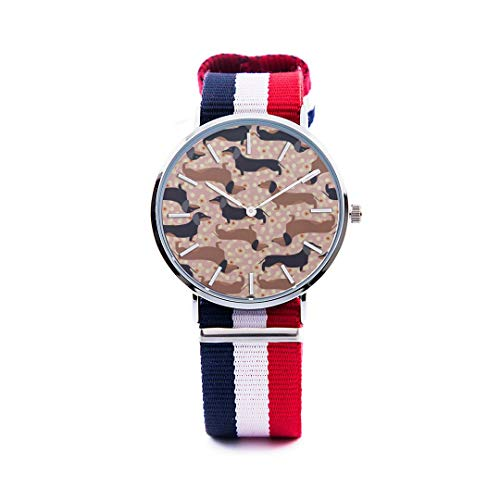 Unisex Fashion Watch Dog Dachshund Cute Pet Smart Animation Print Dial Quartz Stainless Steel Wrist Watch with Nylon NATO Strap Watchband for Women Men 36mm Casual Watch ()