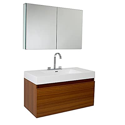 "Fresca FVN8010TK-FFT3801CH Mezzo Modern Bathroom Vanity with Medicine Cabinet, Teak - Dimensions of Vanity: 39""W x 18.63""D x 21.5""H Dimensions of Medicine Cabinet: 39.5""W x 26""H x 5""D Materials: MDF with Acrylic Countertop/Sink with Overflow - bathroom-vanities, bathroom-fixtures-hardware, bathroom - 41Vs76HpDvL. SS400  -"