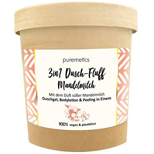 puremetics 3in1 Dusch-Fluff (250g) | Duschgel, Peeling und Lotion in Einem | 100% vegan & plastikfrei | pflegend, hautverfeinernd & glättend | ohne Mikroplastik | Zuckerpeeling (Mandelmilch)