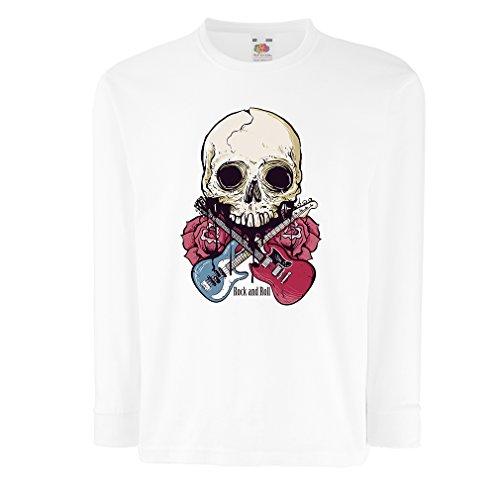 lepni.me Kids T-Shirt Guitars Skull Roses Rock & Roll Concert Lovers (12-13 Years White Multi Color)