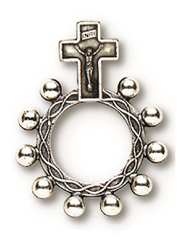 Crucifixion Rosary Ring Silver Oxidized Double Sided Single Ring