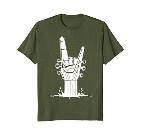 Cafe Postcard (Mens Rock Guitar T shirt Large Olive)