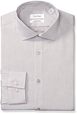 Calvin Klein Men's Dress Shirts Xtreme Slim Fit Thermal Stretch Printed Stripe