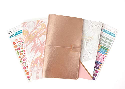(Paper House Productions SET0034 Budget JourneyBook Bundle includes Standard Size Traveler's Notebook 2 Themed Inserts, Stickers)