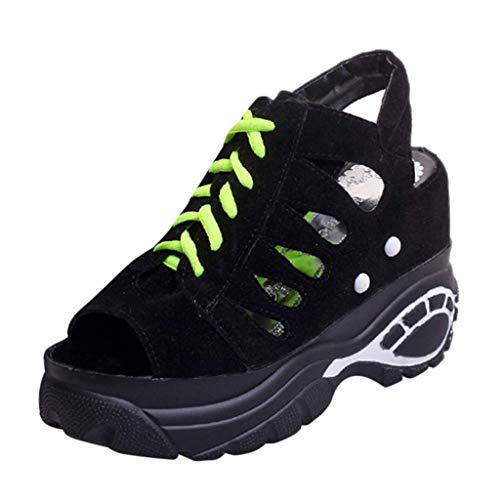 Plataforma Casuales Verano Mujer Cuña Altas 10cm Zapatos Sandalias De Para Negro Tqgold Moda 8w1qg1