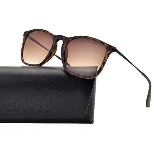 - Square Sunglasses for Men Scratch Resistant Lightweight Rectangular Retro Matte Frame 400UV Protection (Tortoise/ Gradient Brown Lens)