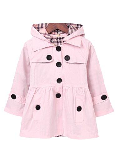 (Mallimoda Girl's Hooded Trench Coat Jacket Dress Windbreaker Outwear Pink 3-4 Years)