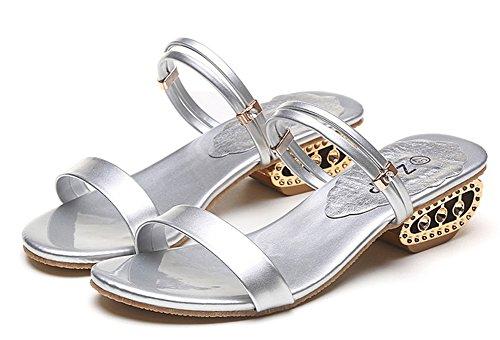 Palabra Diamantes La Zapatillas Minetom Pescado Con De Sandalias Áspero Cabeza Elegante Imitación Verano Mujer Plateado Zapatos nPzTxvn