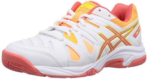 ASICS Gel-Game 5 Gs - Zapatillas de tenis infantiles Blanco (White/Hot Coral/Nectarine 106)