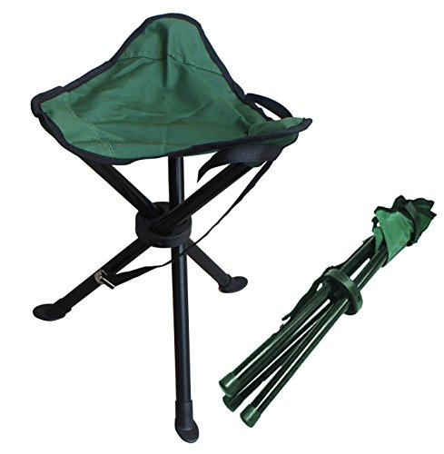 Folding stool by Alex Carseon, small, lightweight, portable seat. Foldable tripod camp chair for camping, fishing, travel, parks, photography, outdoor concerts, soccer games, sports events, gardening
