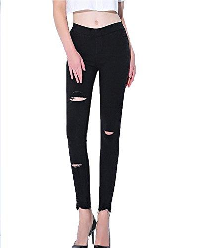 Pantalones Vaqueros Mujer Slim Fit Pantalones Rotos Mallas Mujer Fitness Leggings Yoga Deportivos Pantalones Push Up Negro