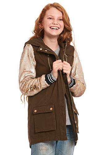 - Truly Me, Big Girls' Anorak Jacket with Long Embellished Sequin Sleeves and Zipper Pockets, Size 7-16 (Hunter Green, 10)