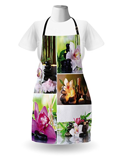 Lunarable Spa Apron, Spa Day Collage with Orchids Stone Pebbles Natural Herbal Oils Body and Mind Treatment, Unisex Kitchen Bib Apron with Adjustable Neck for Cooking Baking Gardening, Multicolor by Lunarable (Image #1)