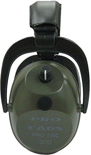 Pro Ears - Pro Tac 300 - Military Grade Electronic Hearing Protection and Amplification - NRR 26 - PT300G - Shooting Amplification & Protection - Ear Muffs - Green