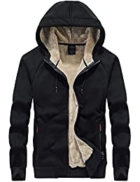 Men's Classic Sherpa Lined Full Zip Up Hoodies Sweatshirt Jacket Outwear