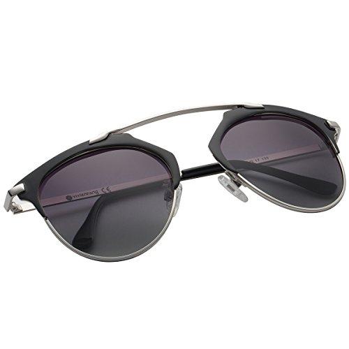 VIVIENFANG Pantos Shape Metallic Polarized Aviator Sunglasses For Unisex 86595A - Sunglasses Diff Eyewear Like