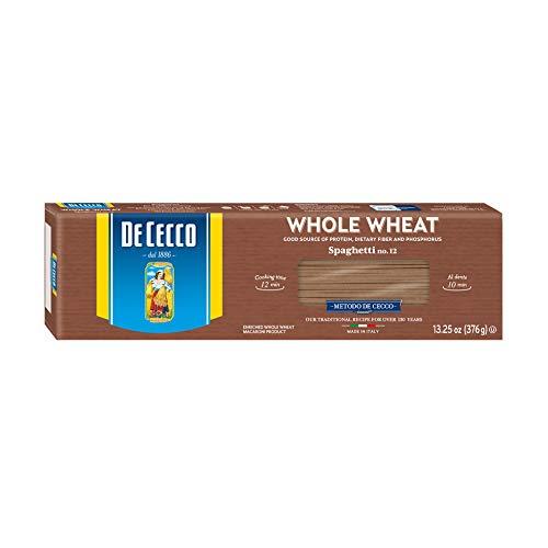 De Cecco Whole Wheat Pasta, Spaghetti No.12, 13.25 Ounce (Pack of 12)