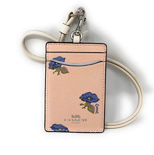 Coach Bell Flower Print ID Card Case Holder Lanyard Pink Multi
