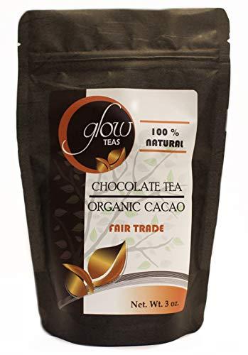 Glow Teas 100% Organic Fair Trade Cacao Tea Caffeine-Free Keto Chocolate Drink Natural Theobromine And Antioxidants Iced Hot Chocolate (3 -
