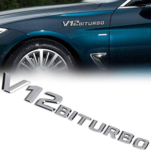 Chrome 23mm x 200mm Benz V12 BITURBO Side Wing Fender Badge Emblem For AMG S65 ML63 GLE63 G65 (V12 Badge)