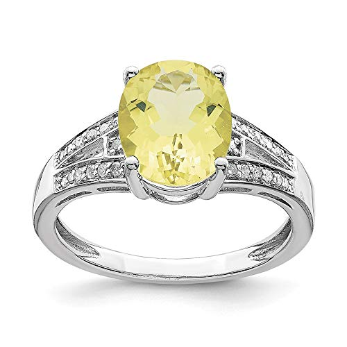 925 Sterling Silver Diamond and Oval Lemon Quartz Ring Size-7