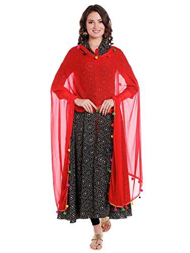 Dupatta Bazaar Woman's Red Chiffon Dupatta with Multicoloured Pompom by Dupatta Bazaar (Image #3)