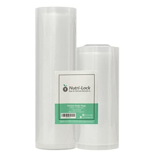 Nutri-Lock Commercial Grade Bag Rolls 2 Rolls 11x50 and 8x50