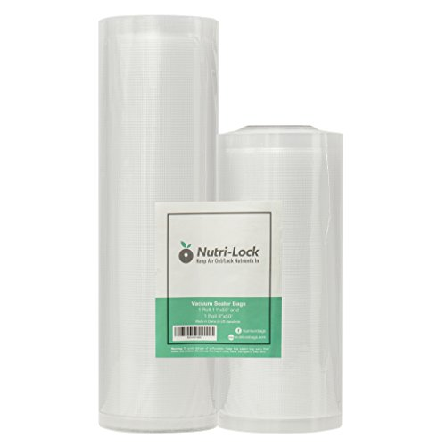 Nutri-Lock Vacuum Sealer Bags. 2 Rolls 11x50 and 8x50. Commercial Grade Bag Rolls for FoodSaver and Sous Vide (Machine Bag Sealer)
