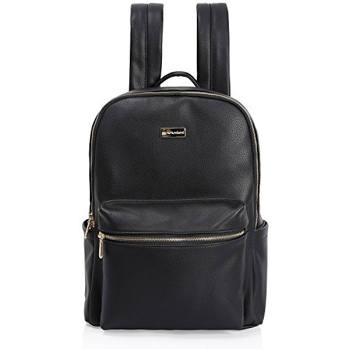 Nurture Diaper Bag Backpack - Stylish Designer Black Leather Look Design for Carrying Baby Girls or Boys Essentials Large or Small