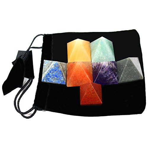 Set of 7 (SEVEN) Pyramid Chakra Set -- Engraved Pyramid Shaped Chakra Stone - Reiki - Metaphysical - Crafting with Rock Paradise Exclusive Certificate of Authenticity (AM4B2) ()