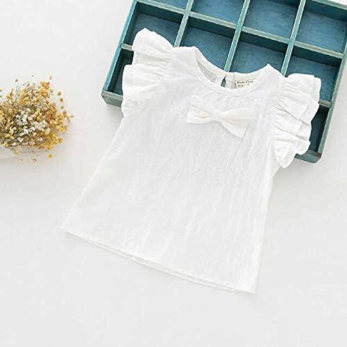 Blouses & Shirts - Girl Shirts Lattice Jacquard Fly Sleeve Shirt Baby Bow Cotton Linen Shirt Girl Summer Shirts Toddler Comfortable Tops Tee (White 3T)