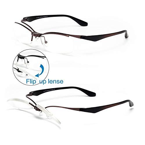 Liansan Metal Frame Flip Up Lens Reading Glasses Readers for Men and Women 3802 Brown 200