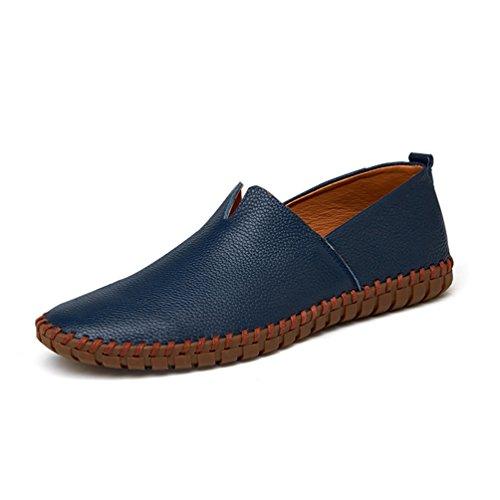Mocasines Transpirable Los Zapatos Pisos Mens De Azul Deslizarse Moda En Cuero Artesanal Conducción Genuino Suave qExzwxpO