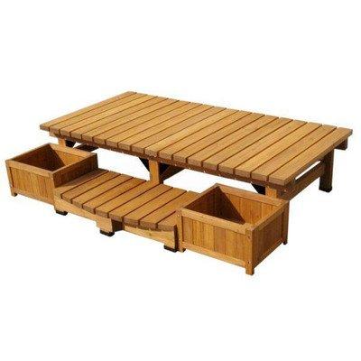 ガーデンチェア デッキ縁台ベンチ 大サイズ4点セット 杉材 B00SL083GE