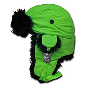 DECKY Black Fur Aviator Hat, Neon Green, Small/Medium